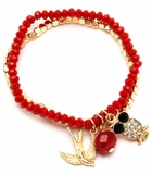 Red and Faceted Gold Bead Multi Charm Bracelet Set