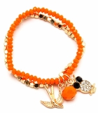 Orange and Faceted Gold Bead Multi Charm Bracelet Set