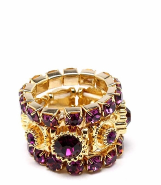 Amethyst Crystal Stacking Ring Set