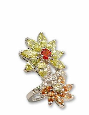 Fall Flowers Citrine and Champagne CZ Ring