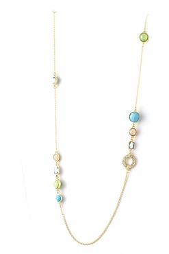 Aqua Multi Jeweled Long Necklace