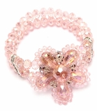 Pink Crystal Layered Flower Stretch Bracelet