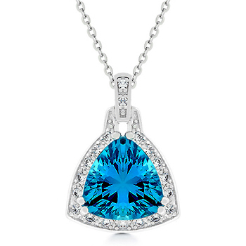 Aqua Trillion CZ Pendant Necklace