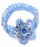 Light Sapphire Crystal Layered Flower Stretch Bracelet