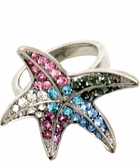Multi Crystal Starfish Ring