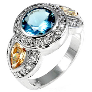 Aquamarine and Champagne Pave CZ Ring