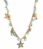 Sealife Multi Charm Crystal & Pearl Cluster Long Necklace