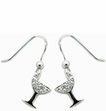 Sterling Silver CZ Martini Drop Earrings