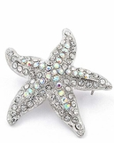 Crystal AB Starfish Pin