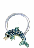 Crystal Blue Dolphin Illusion Band Toe Ring
