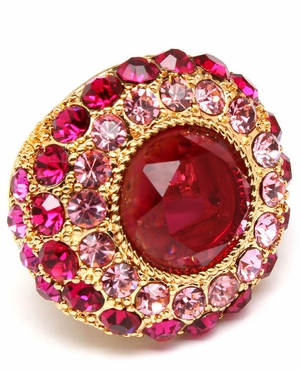 Fuchsia Multi Crystal Cocktail Ring