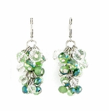 Green Multi Crystal Cluster Drop Earrings
