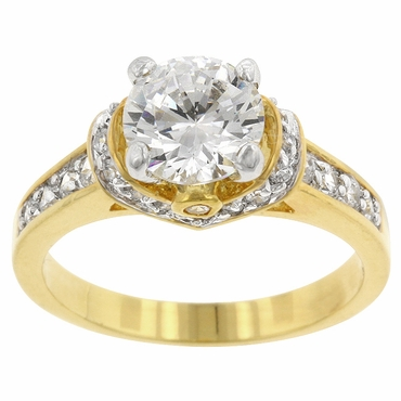 Gold CZ 3 Carat Framed Solitaire Ring