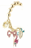 Pink Crystal Fox and Mixed Charms Bracelet