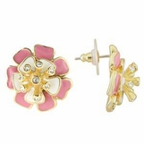 Enameled Pink Layered Flower Earrings