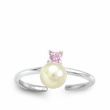 Pink CZ & Pearl Sterling Silver Toe Ring