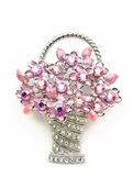Pink AB Basket of Flowers Brooch