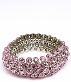 Pink Crystal Bubble Five Row Stretch Bracelet
