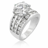 Solitaire CZ Triple Row Channel Band Ring