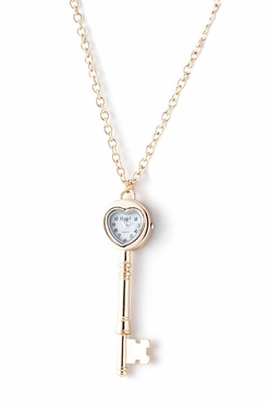 Golden Watch Key Pendant Necklace
