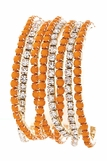 Coral and Crystal Eight Strand Bracelet Set