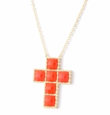 Coral Square Faceted Stone Cross Necklace