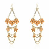 Enameled Flowers Layered Chain Earrings