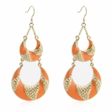 Orange Enamel Layered Drop Earrings