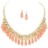Peach Briolette Drops and Crystal Mixed Chain Bib Necklace Set