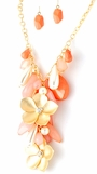 Coral Multi and Crystal Flowers Chunky Bib Necklace