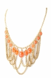 Coral Multi Drop Bib Necklace