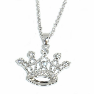Swarovski CZ Sterling Silver  Royal Crown Necklace