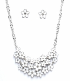 White Multi Flower Necklace and Earrings Set