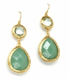 Green Multi Bezel Teardrop Earrings