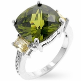 Olivine and Champagne Cushion Cut CZ Triplet Ring