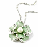 Enameled Flower Pearl Pendant Necklace