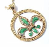 Fleur de Lis Crystal Enamel Medallion Necklace