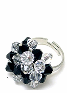 Jet Clear Swarovski Crystal Cluster Ring