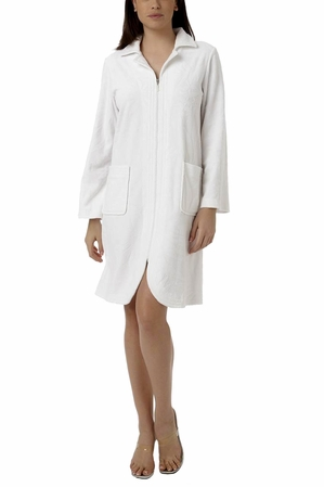 Oscar de la Renta White Short Zip Front Palm Reflections Robe
