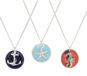 Silver Enameled Coin Charm Necklace by Janna Conner