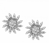 Pinwheel Daisy CZ Sterling Silver Earrings
