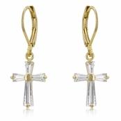 Gold Baguette Cross CZ Leverback Earrings