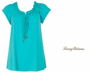 Doheny Shirred Top With Ties Ming Jade by Tommy Bahama
