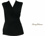 Black Tambour Sleeveless Shirred Top by Tommy Bahama