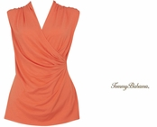 Burnt Coral Tambour Sleeveless Shirred Top by Tommy Bahama