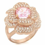 As Seen In Better Homes and Gardens - Pink CZ Flower Rose Gold Ring