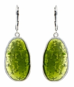 Baked Beads Olivine Inlaid Enamel Drop Earrings