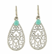 Baked Beads Filigree Etched Teardrop With Turquoise Glass Bead Earrings