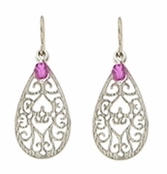 Baked Beads Filigree Etched Teardrop With Amethyst Glass Bead Earrings