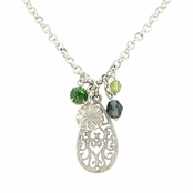 Baked Beads Filigree Etched Teardrop and Charm Cluster Necklace